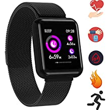 Fitness Tracker Smart Watch Wristband - Health Activity Smartwatches with Heart Rate Monitor Blood Pressure Oxygen Rate for Men Women Kids (01 P68 Metal Black)