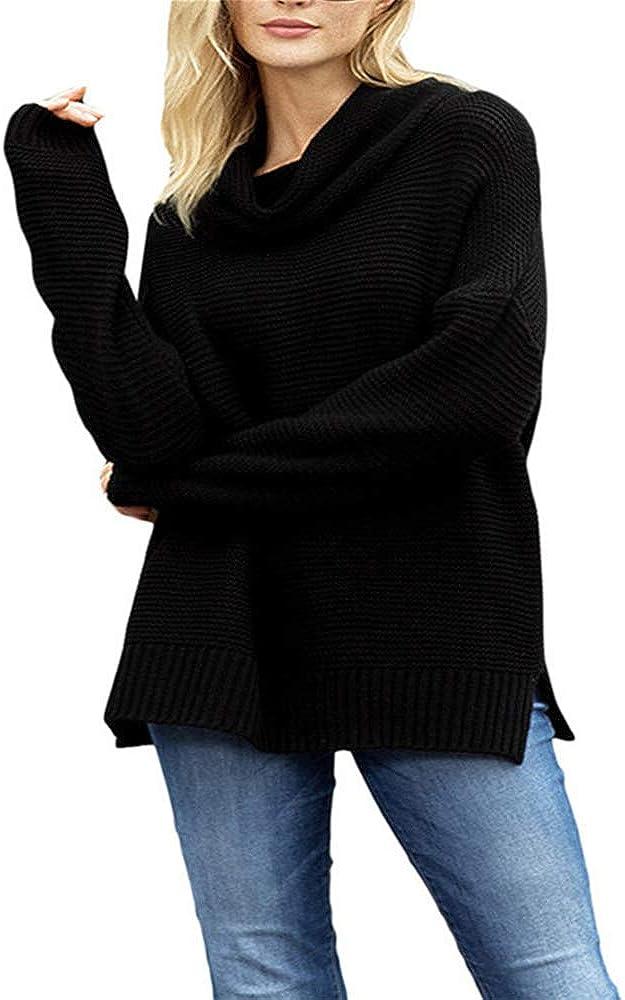 SFYZY Mujer Suéter de Cuello Alto Jersey de Punto de Invierno Jerséis Casual para Sudaderas Caliente Manga Larga Pullover