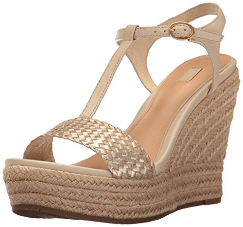 UGG Women's Fitchie II Wedge Sandal, Soft Gold, 8 US/8 B US (Womens Ugg Dress)