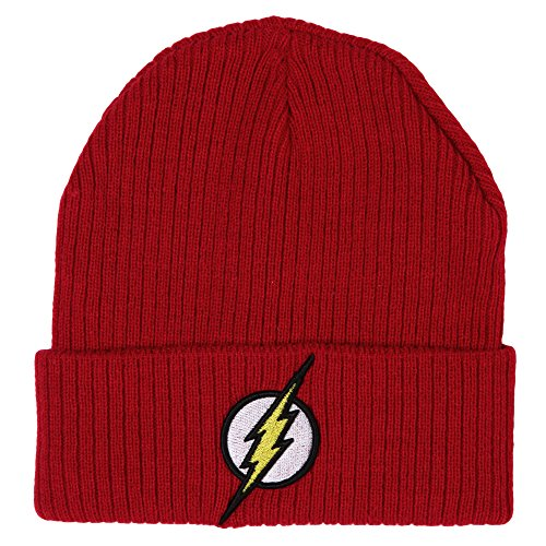 Superman Embroidered Beanie - Flash Logo Knit Cuff Beanie, Red, One Size