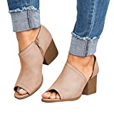 XMWEALTHY Women's Chunky Heels Sandals Shoes Summer Casual Peep Toe Pumps Ankle Boots Beige US 9