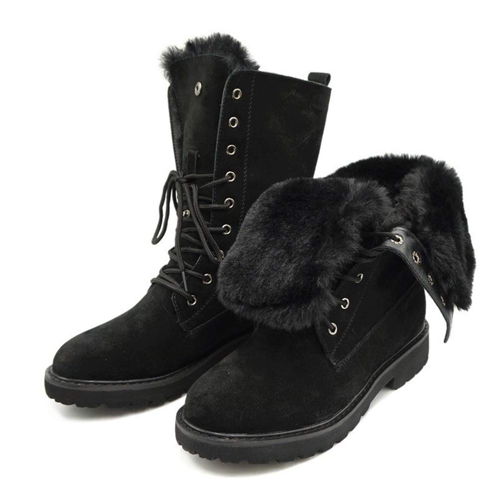 36fda76cfbcd7 Amazon.com: DETAIWIN Women's Martin Boots Leather Fur Lace-up Winter ...