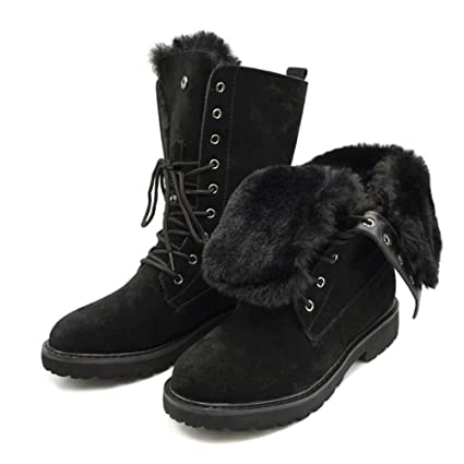 a4b55bd2ee60 Amazon.com  DETAIWIN Women s Martin Boots Leather Fur Lace-up Winter Thick  Warm Plush Women Mid Calf Snow Boots  Sports   Outdoors
