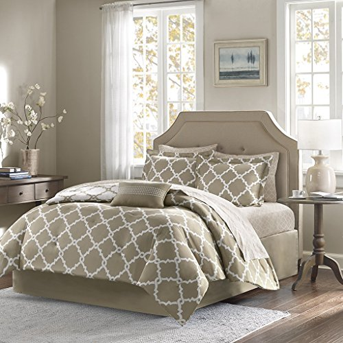 Geometirc Modern 7-Piece Reversible Comforter Set Soft Bedding Oversized Bed in a Bag SALE!!! (Queen, Taupe)