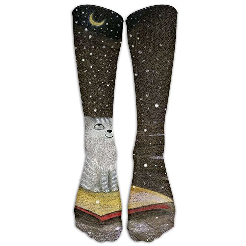 Moon Little Cat Compression Socks Soccer Socks Knee High Socks Long Stockings For Running,Jogging,Cross Training,Cycling,Relief