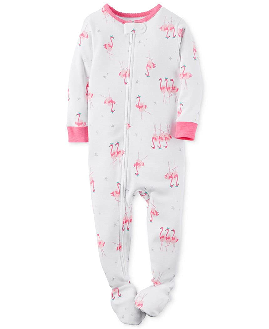 Carters Girls 3T Pink Flamingo Footed Polyester Jersey Pajama Sleeper