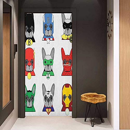 Onefzc Wood Door Sticker Superhero Bulldog Superheroes Fun Cartoon Puppies in Disguise Costume Dogs with Masks Print Easy-to-Clean, Durable W30 x H80 - Disguise Wolf Costume