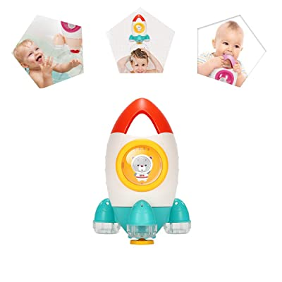 Senhui Baby Bath Toy, Children Bathroom Color Fountain Rocket Toys, Creative Power Spin Squirt Water Rocket Toys for Kids, Toddlers. (Ages 18 Month+) (Orange): Toys & Games