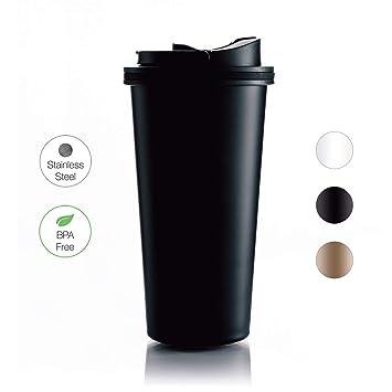 500ml Edelstahl Isolierbecher Kaffee Becher mit Deckel und Strohhalm für