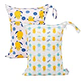 ALVABABY 2pcs Cloth Diaper Wet Dry Bags Waterproof Reusable with Two Zippered Pockets Travel Beach Pool Daycare Soiled Baby Items Yoga Gym Bag for Swimsuits or Wet Clothes LX-YX7576