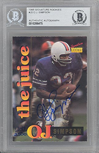 O.J. SIMPSON AUTOGRAPHED 1995 SIGNATURE ROOKIES CARD #J-3 BUFFALO BILLS BECKETT BAS STOCK #128708