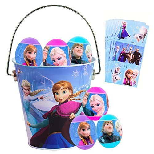 Frozen Easter Basket Bundle - 6 Sticker Filled Plastic Easter Eggs and Metal Pail Set ()