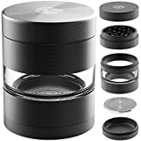 Herb Grinder with Pollen Catcher - Large 2.5 Inch 5 Piece Set - Best for Weed/Tobacco/Spice - Includes REMOVABLE Stainless Steel Screen/Kief Scraper/Travel Bag - 9to5 Grinders (Matte Black)