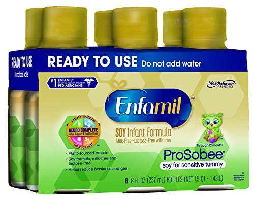 Enfamil  ProSobee Baby Formula - Ready-to-Use 8 fl oz Plastic Bottles,  6 Count (Pack of 4)