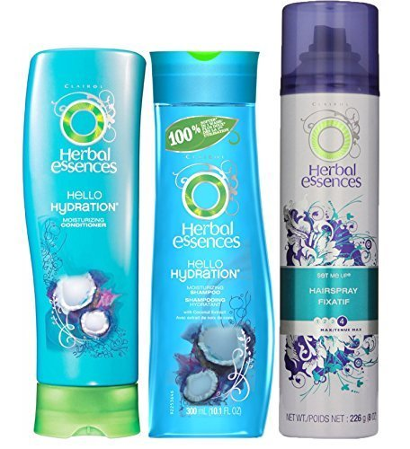 Herbal Essences Hello Hydration Moisturizing Hair Shampoo & Conditioner, 10.1 Ounces, With Max Hold Hairspray #4, 9.2 Ounces (Term Long Herbal Essences)