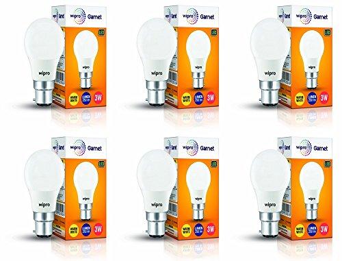 Wipro Polycarbonate Garnet Base B22 3-Watt Led Bulb (Pack of 6, Warm White)