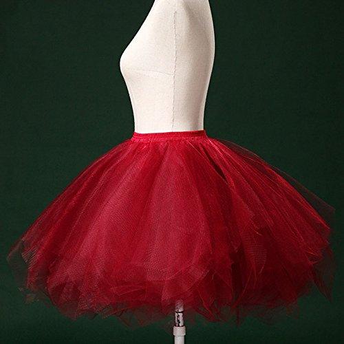 Tulle Femme pour Fte lastique Jupe Tutu Danse Taille Adulte Courte Multi en Ballet Couches Rouge Feoya Vineux Spectacle Lger Jupe t07qyRqw
