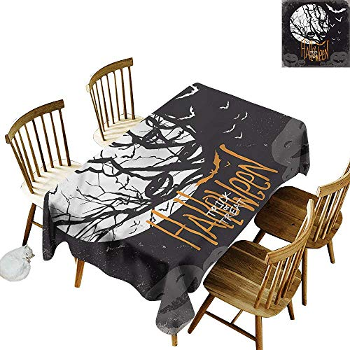 (Resistant Table Cover Vintage Halloween Full Moon Trees Dinner Picnic Table Cloth Home Decoration 54