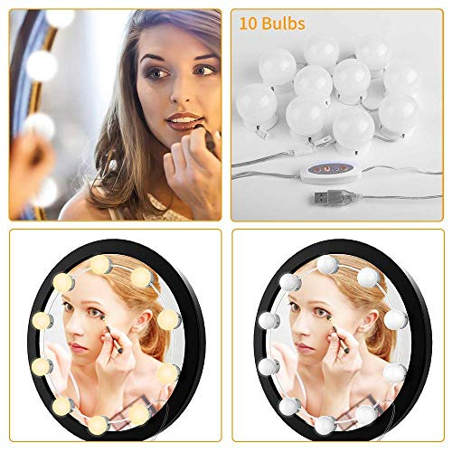 Art Deco Vanity Table - Wonstart Hollywood Style LED Vanity Mirror Lights Kit with Dimmable Light Bulbs, Lighting Fixture Strip for Makeup Vanity Table Set in Dressing Room (Mirror Not Include) (White10)