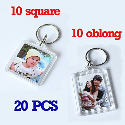 Clear Photo Frame Keychain Set - 20 Pieces Square & Rectangle Shapes Transparent Acrylic Snap-in Personalized Picture Frame Key Holder, Cool Gift for Friends Lovers and ()