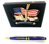 President Donald Trump Signature Presidential Pen and American Flag Christmas Ornament with Washington DC monuments set