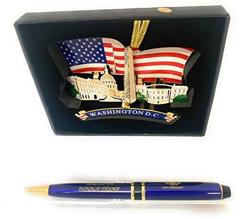 - President Donald Trump Signature Presidential Pen and American Flag Christmas Ornament with Washington DC monuments set (2)