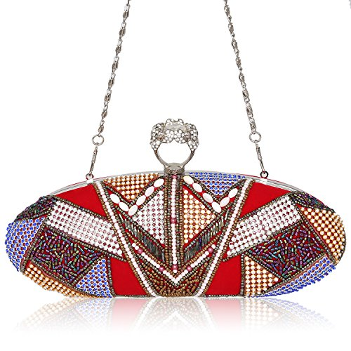 Sequin Ring Duster Studded Red Knuckle Beaded Bag Evening Rhinestone Clutch Crystal Flannelette Handbags zOWdqz