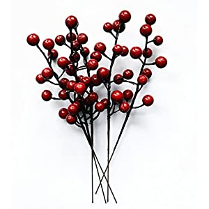 UPSTORE 10PCS Red Winter Harvest Crabapple Christmas Garland Swag Artificial Stems Decorated Wreath Garland Xmas Tree Decoration Crafts for New Years Holiday Festive Party Shopping Malls Dress Up 3