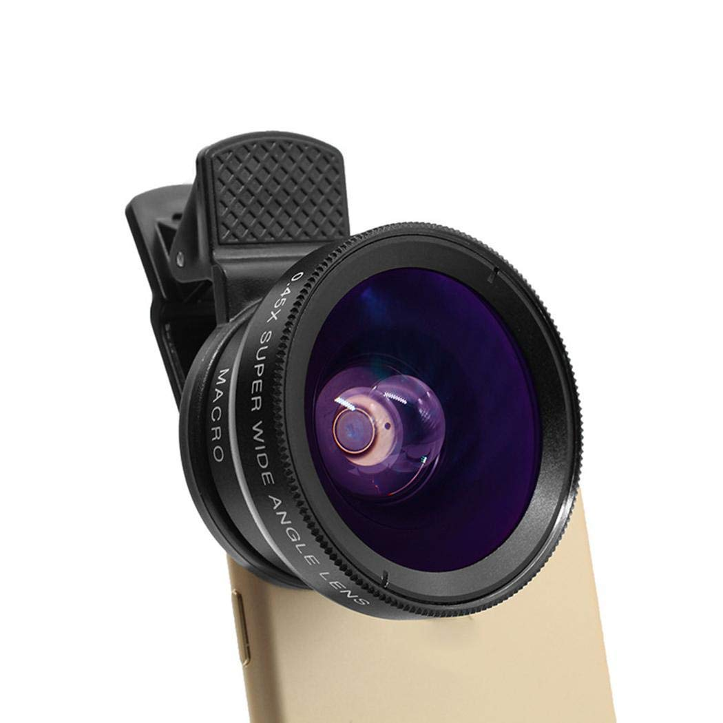 Kikole 52mm 0.45x Cell Phone Camera Lens 2 in 1 Clip-on Lens Kit Super Wide Angle Accessory Kits