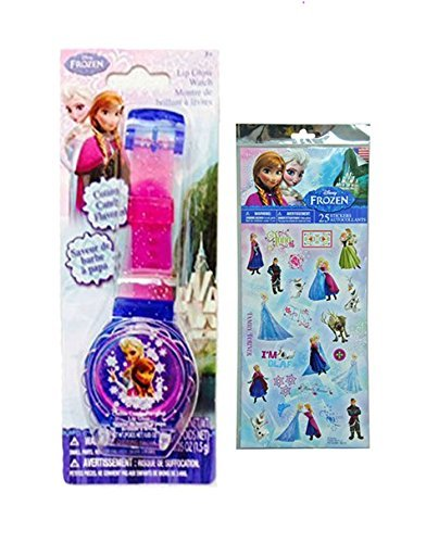 - Disney Frozen Princess Sparkle Lip Gloss Watch Featuring Elsa & Anna! Cotton Candy Flavored Lip Balm! Plus Bonus Disney Frozen 25pk Sticker Sheet!