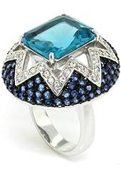Sumptuous Vintage Ring w/Blue & White CZs