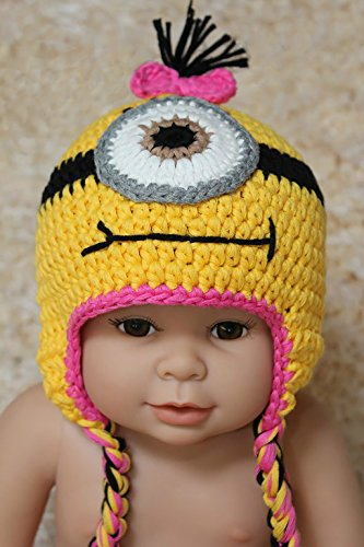 Buy Home Handmade Despicable Me Toddler Baby Minion Crochet Hat 4 Sizes (M, One Eyed Pink)