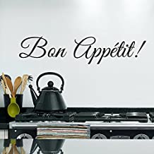 """Wall Decal Decor Kitchen Wall Decal Quotes - Bon Appetit Wall Sticker Dining Room Wall Decor Removable Vinyl Lettering(Black, 7.5""""h x34""""w)"""