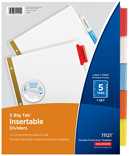 Avery Big Tab Insertable Dividers, 5 Multicolor Tabs, Case Pack of 36 Sets (11121)