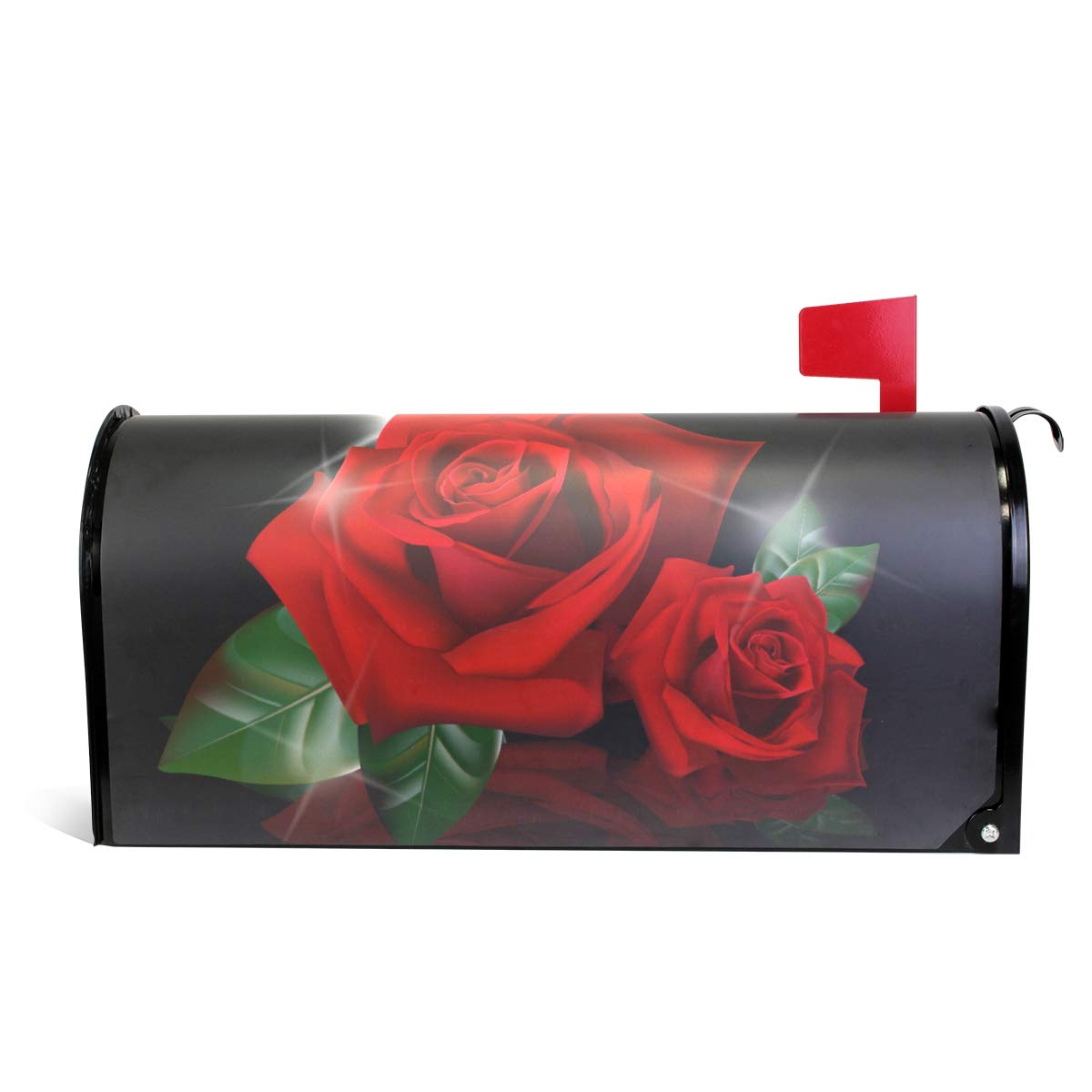 Fengye Sparkle Red Rose Art Mailbox Magnetic Cover Medium Large Capacity Post Box Covers