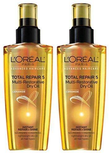 L Oreal Paris Ceramide Total Repair 5 Multi-Restorative Dry Oil, 3.4 fl oz Pack of 2