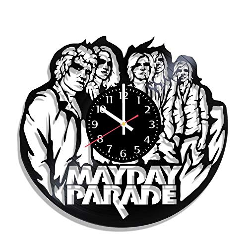BombStudio MayDay Parade Vinyl Record Wall Clock, MayDay Parade Handmade for Kitchen, Office, Bedroom. MayDay Parade Ideal Wall -