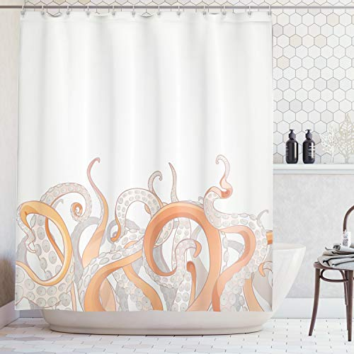 Ambesonne Octopus Decor Collection, Octopus Tentacles Background Underwater Marine Nature and Sea Creatures Nautical Decor, Polyester Fabric Bathroom Shower Curtain Set with Hooks, Grey Orange