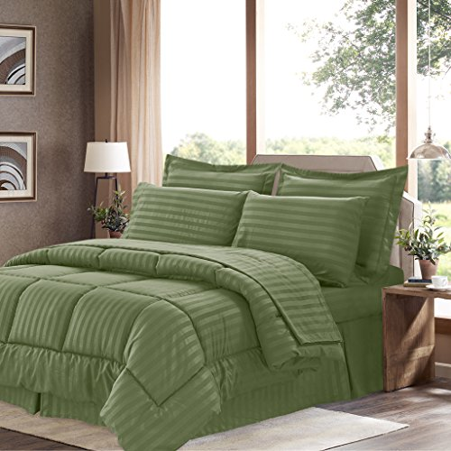 Sweet Home Collection 8 Piece Bed In A Bag with Dobby Stripe Comforter, Sheet Set, Bed Skirt, and Sham Set - Queen - Sage