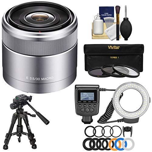 Sony Alpha E-Mount 30mm f/3.5 Macro Lens with Ring Light + Macro Tripod + 3 Filters + Kit for A7, A7R, A7S Mark II, A5100, A6000, A6300 Cameras