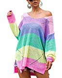 GIKING Women Casual Oversized Sweater Color Block Knited Jumper Loose Pullover Tunic Blouse