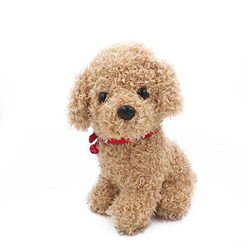 (DearDo 3.9 Inch Small Poodle Pal Dog with Bell Puppy Plush Toys Stuffed Animal (Khaki))
