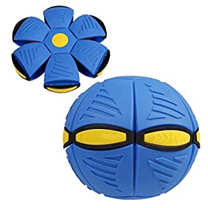 Auwer Novelty Magic Flying Saucer Ball UFO Flash Darts Flat Throw Deformation Catch Ball Frisbee Flying Discs Kids Toy Outdoor Soccer Game (Blue)