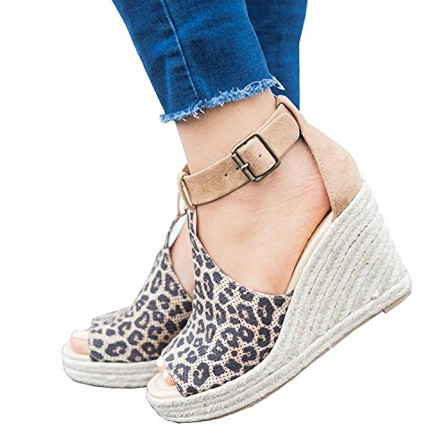 Ruched Strap Women Leopard Toe Peep Canvas Sandals Ankle Shoes Heeled Voguegirl Buckle Wedge Platform Summer Espadrille vqfdwvEx