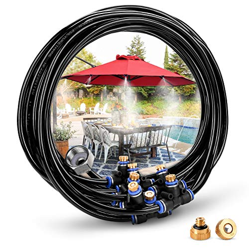 HOMENOTE Misting Cooling System 26.2FT (8M) Misting Line + 9 Brass Mist Nozzles + a Brass Adapter(3/4) Outdoor Mister for Patio Garden Greenhouse Trampoline for waterpark