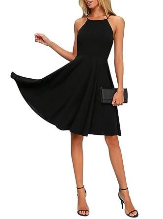 8143817a42 BELONGSCI Women Sweet Sleeveless Spaghetti Strap Flared Swing Pleated A-Line  Summer Skater Dress Black