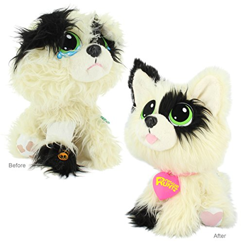 Rescue Runts Spotty Plush Dog, White/Black