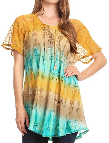 Sakkas 16786 - Monet Long Tall Tie Dye Ombre Embroidered Cap Sleeve Blouse Shirt Top - Mint - OS ()