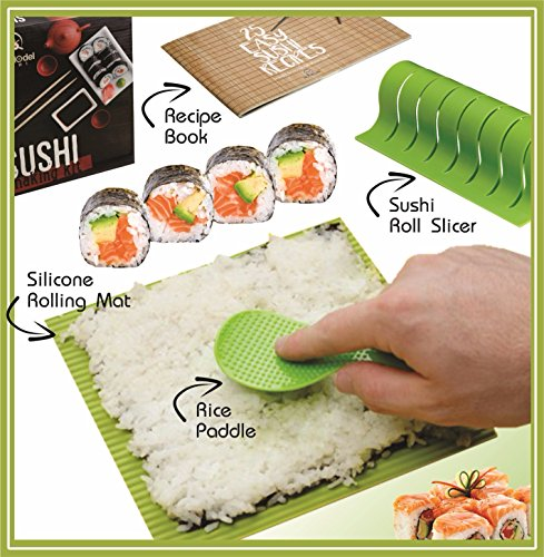 Sushi Rolling Mat (Roll Model Sushi - DIY Sushi Making Kit with Silicone Rolling Mat and Recipe Book)