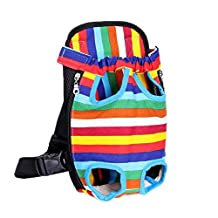 """Toparchery Pet Carrier Backpack, Adjustable Front Cat Dog Bag, Legs Out, Perfect for Traveling Hiking Camping, 16.4""""L x 9.4"""" W, Colorful Strips"""